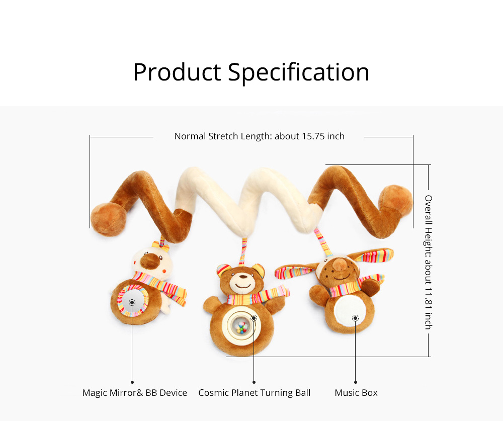 Newborn Infants Brown Animal Hanging Rattle, Delicate Music Sounding Baby Bedside Winding Bell Toy for Bed Stroller 7