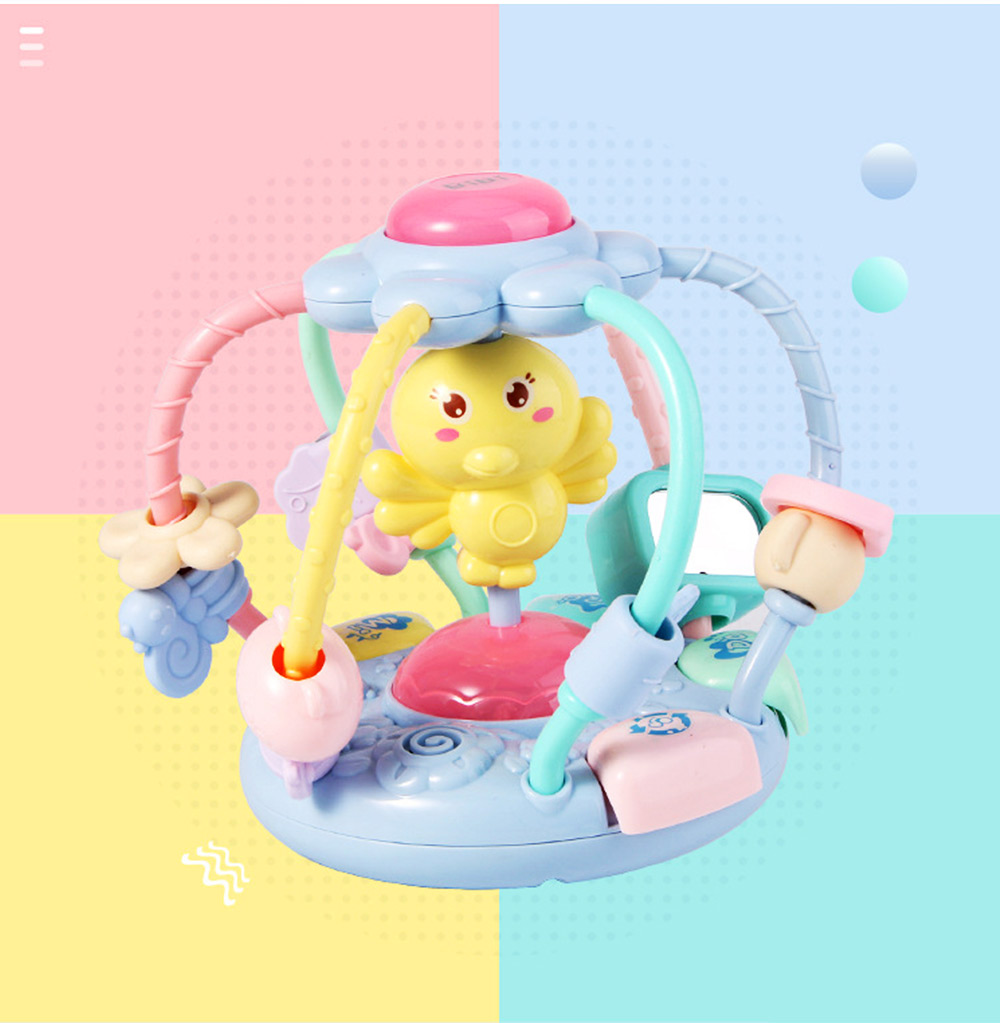 Cute Cartoon Chick Babies Teether Rattle, Baby Beads Grasping Ball Music Light Early Education Toy 6