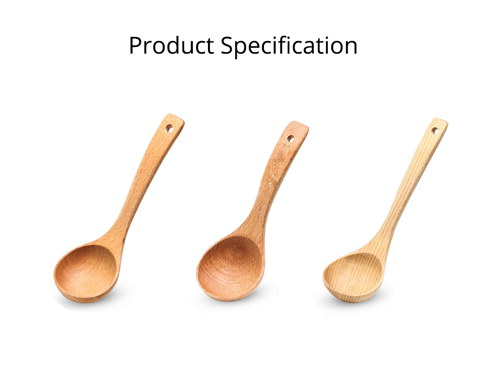 Minimalist Delicate Beech Wood Rice Porridge Soup Ladle, Non-toxic Lacquer-free Large Spoon with Long Handle 7