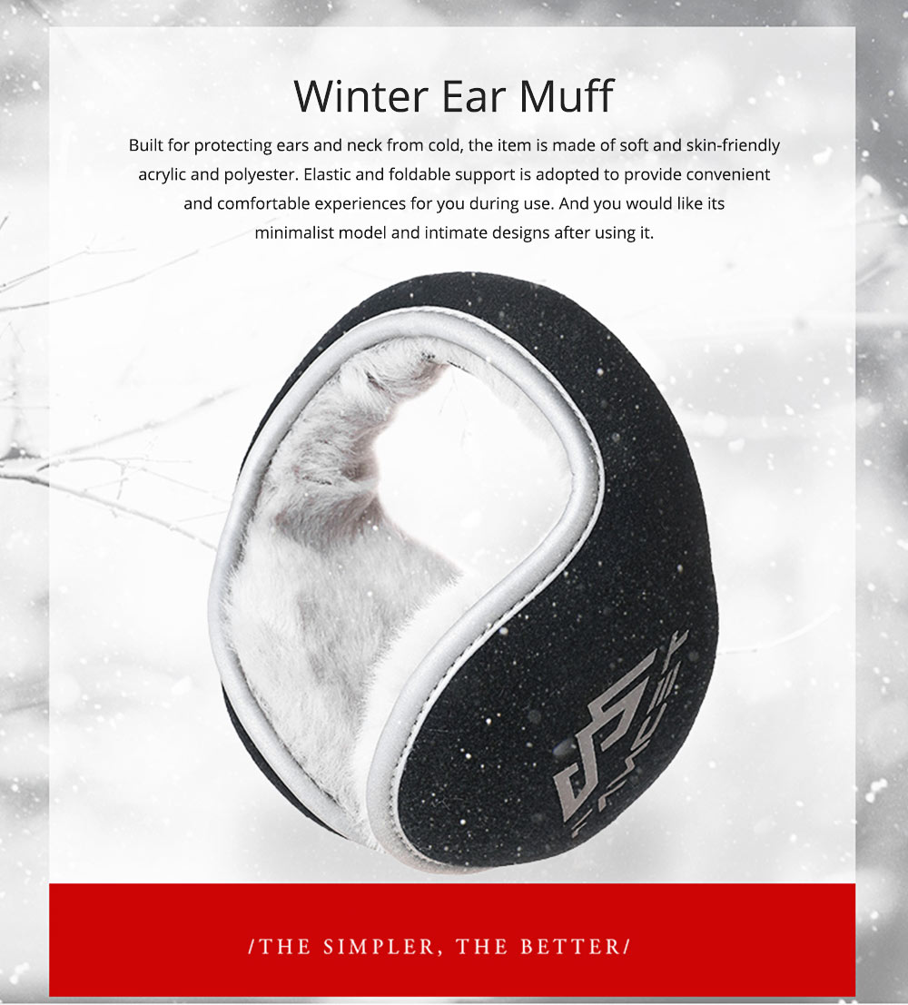Minimalist Delicate Fluffy Neck Protector Ear Muff for Man Ladies, Ultra-soft Winter Outdoors Ear Cover with Foldable Adjustable Supporter 0