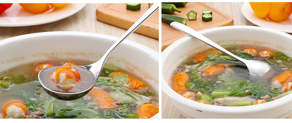 Solid Delicate 304 Stainless Steel Soup Ladle Table Spoon, Smooth Deepen Thicken Porridge Spoon with Long Handle 8
