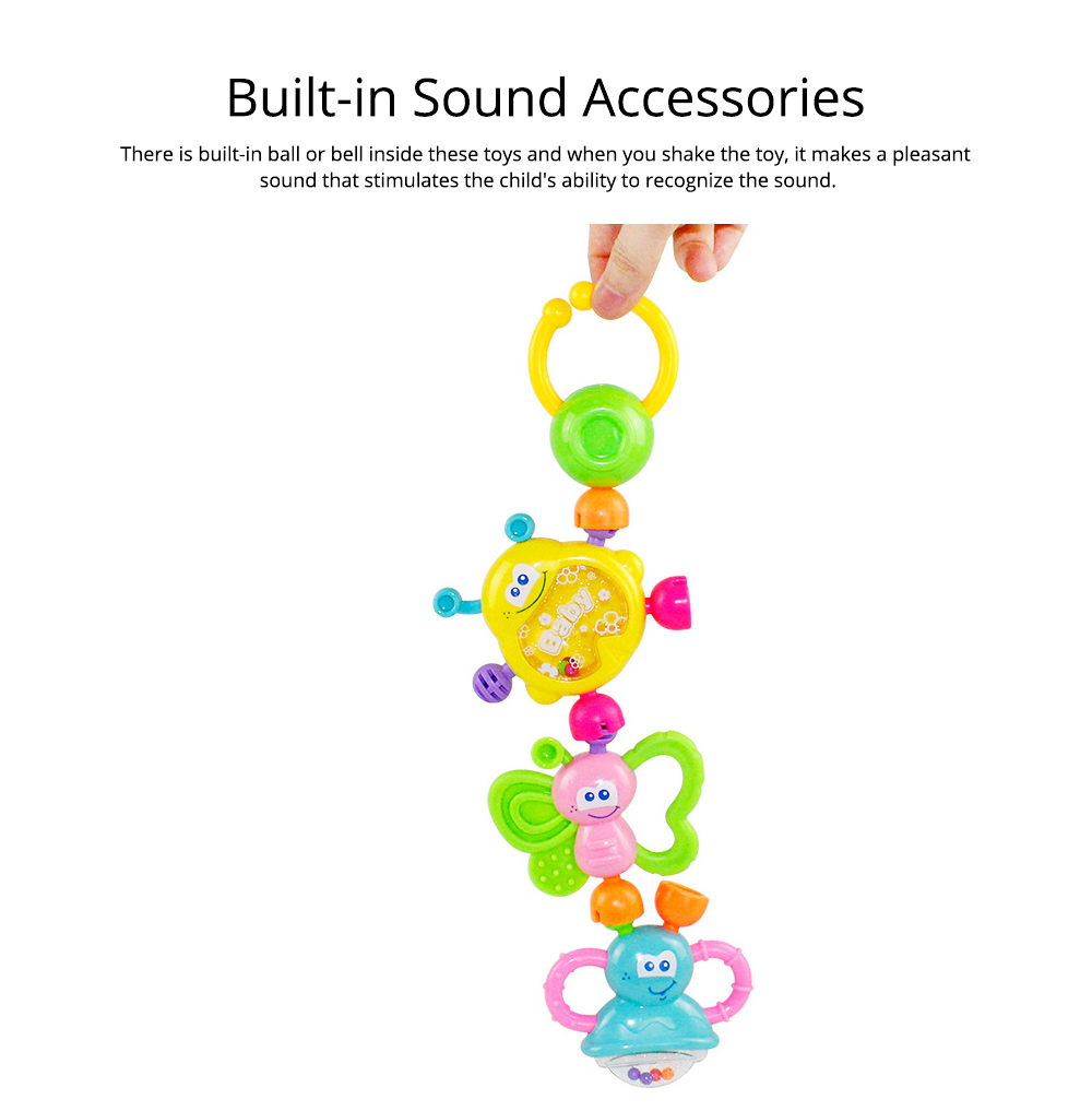 7PCS Cute Cartoon Rattle Suit for Babies, Solid ABS Plastic Delicate Fancy Hand Bell Early Education Puzzle Toy 6