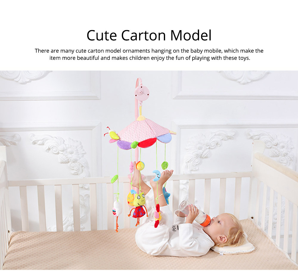 Creative Fluffy Music Rotation Bed Bell Baby Mobile, Cute Carton Ornaments Infants Bed Pram Decorative Toy 8