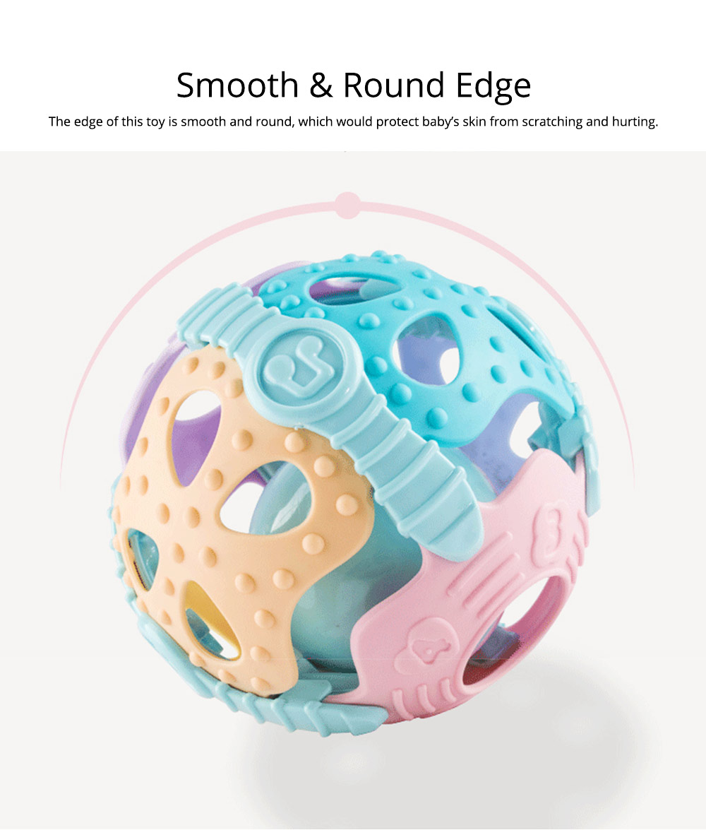 Flexible ABS Plastic Round Fitness Ball Teether Rattle, Delicate Colorful Raised Grain Teeth Grinding Gum Hand Ball for Baby Infants 5