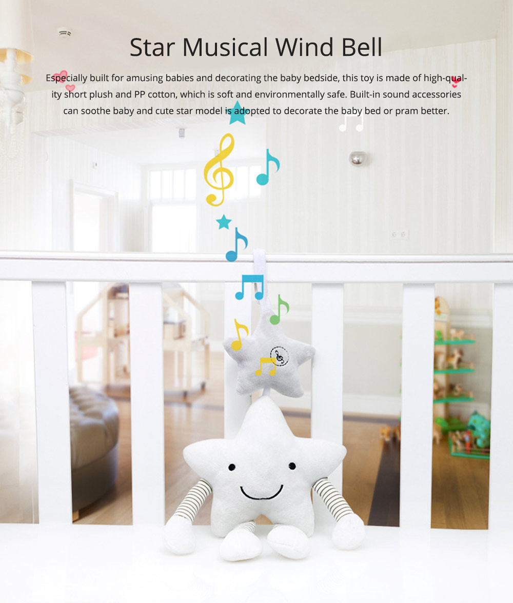 Cute Star Music Wind Bell Bed Bell Pram Pendant, Ultrasoft Plush Bedside Decoration Ornament Puzzle Early Education Toy 0