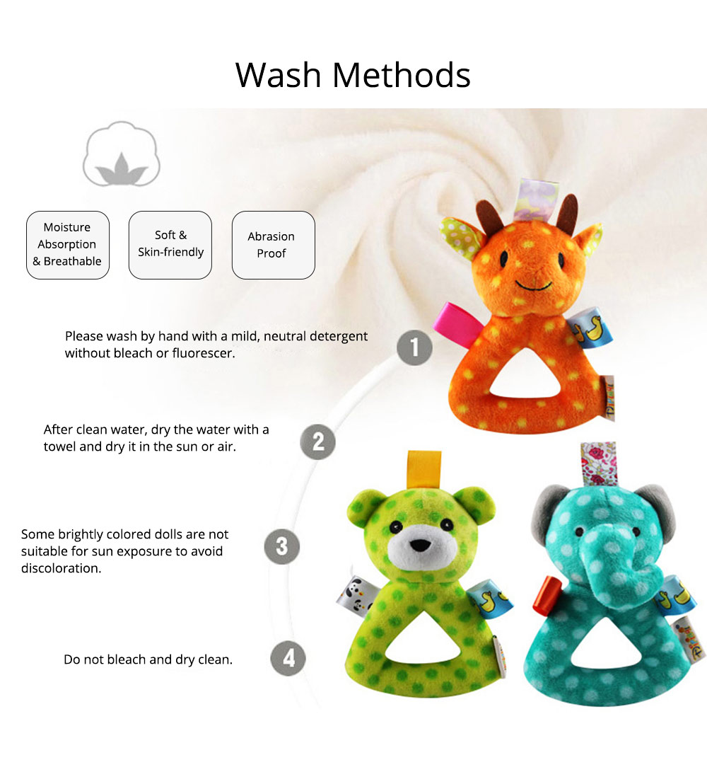 Cute Animal Fluffy Rattle with BB Device, Delicate Triangle Round Hand Grip Hand Bell for Infants 13