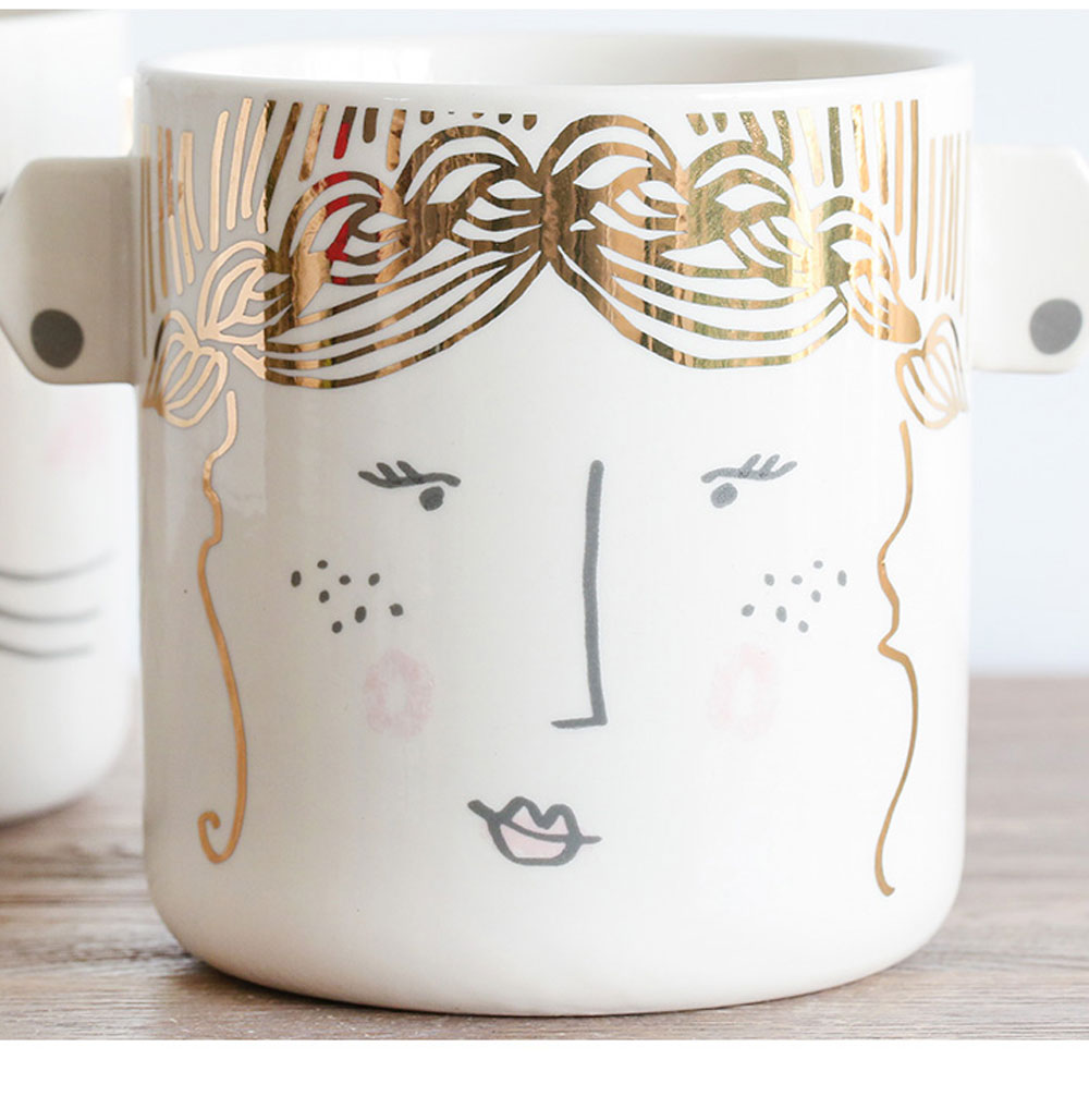 Funny Cute Expression Painting Ceramics Mug, Unique Stylish Household Water Coffee Breakfast Cup 2