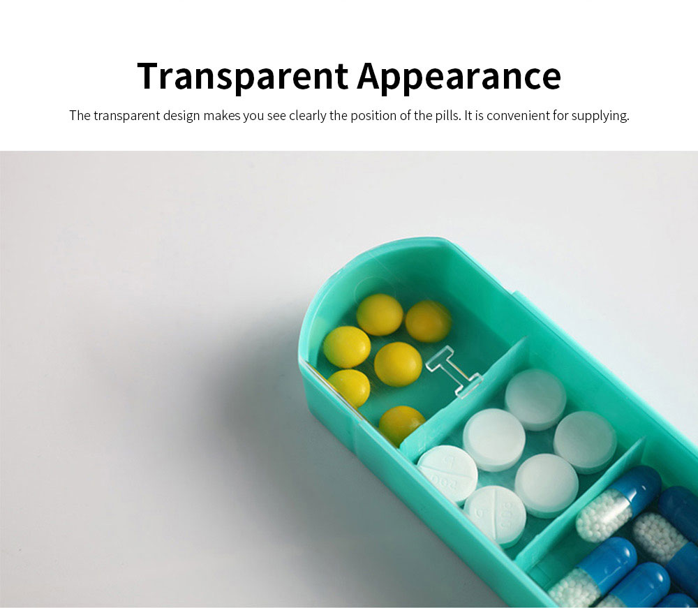 Weekly Pill Box 4 Times A Day, Portable Mini Sized Plastic Pill Case for Easy Storage, Medicine Classified Storing 3