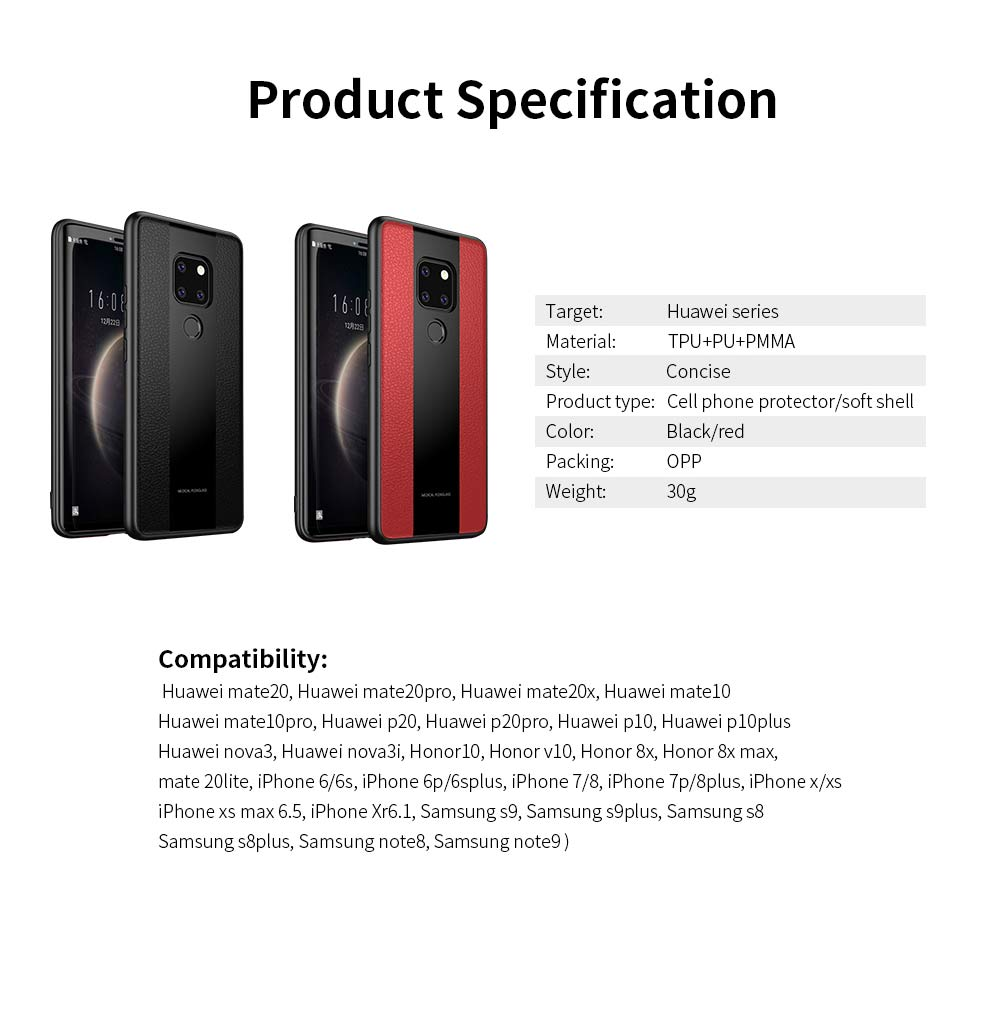 High Quality Fashionable Cell Phone Protector for Huawei, iPhone, Samsung, Stitching PU Texture Shatter-resistant Mobile Phone Shell 5
