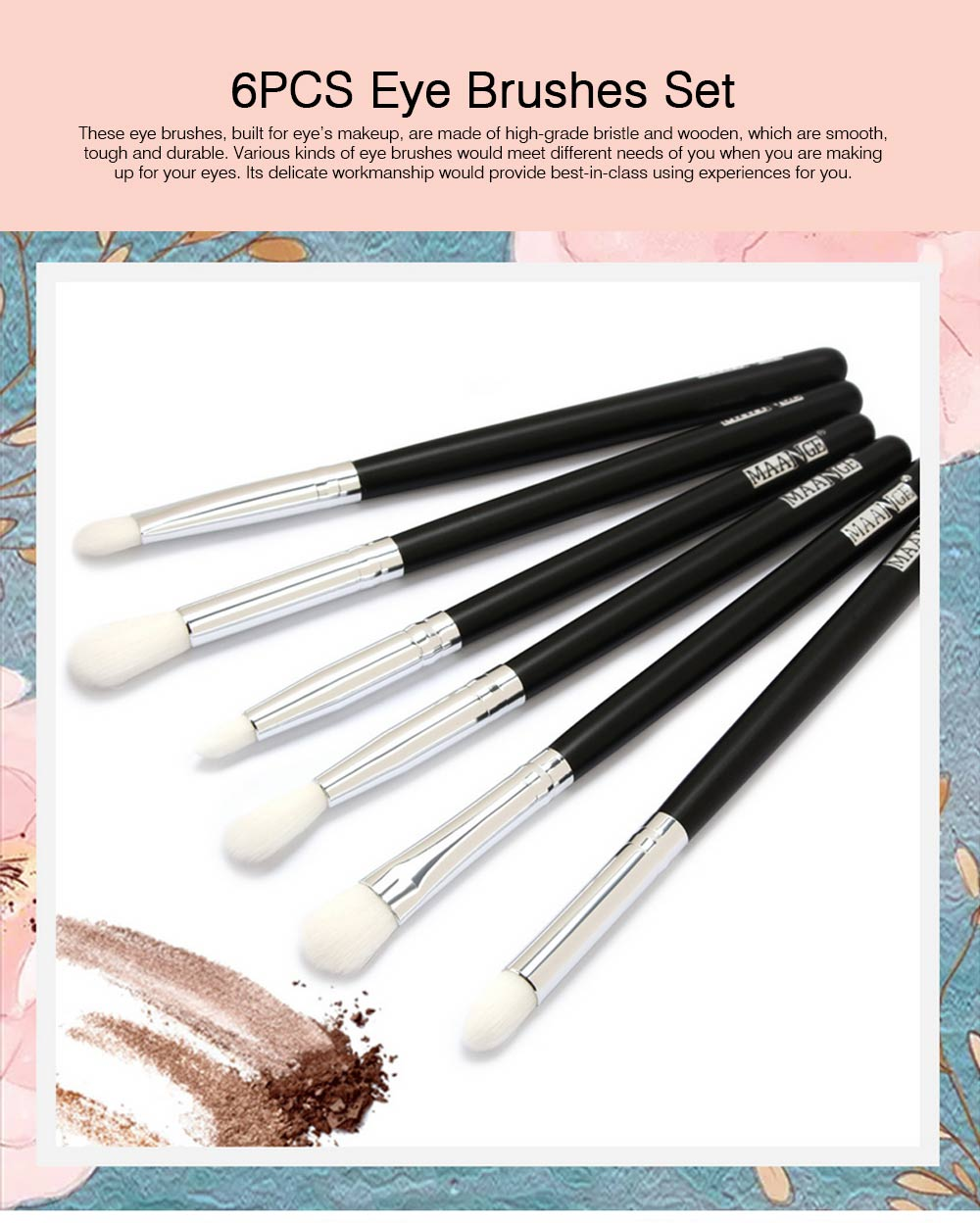 Delicate Professional Makeup Eye Shadow Brushes Suit, Minimalist 6PCS Wooden Multiple Eye Brushes Set 0
