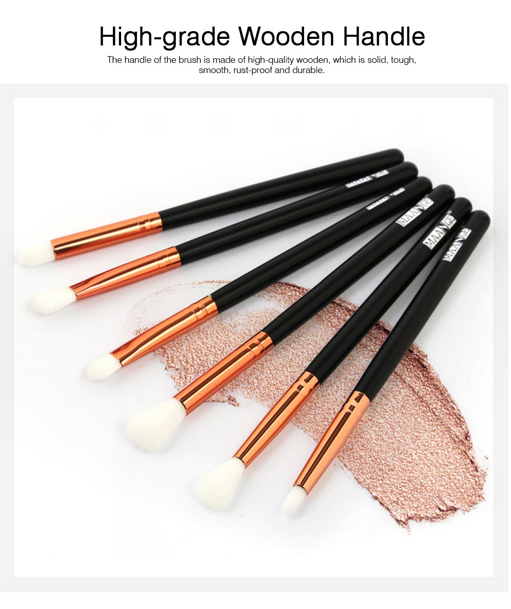 Delicate Professional Makeup Eye Shadow Brushes Suit, Minimalist 6PCS Wooden Multiple Eye Brushes Set 2