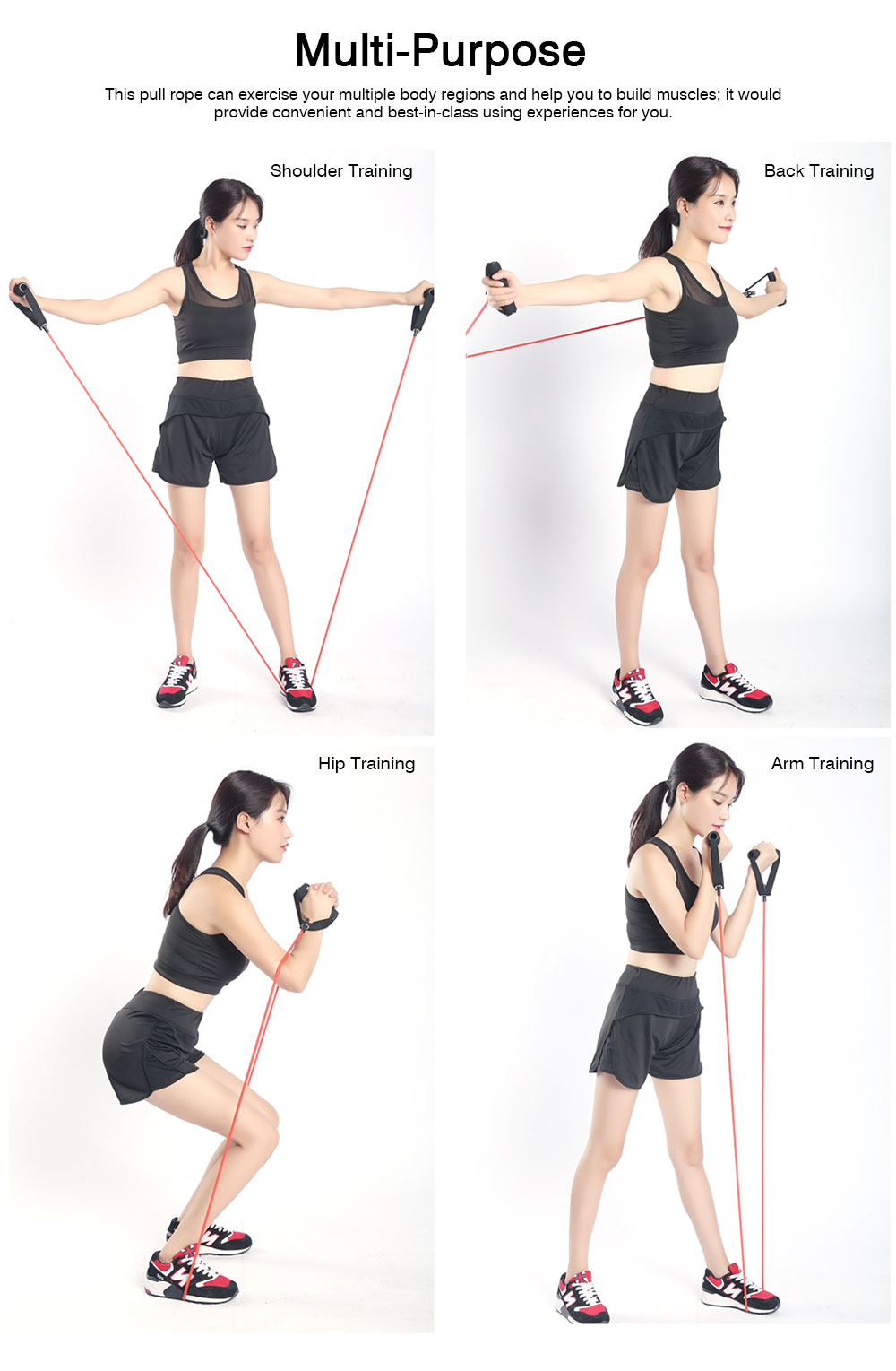 Multifunctional Household Strong-Elastic Rubber Pull Rope, Strength Training Exercise Resistance Band with Door Clasp 4