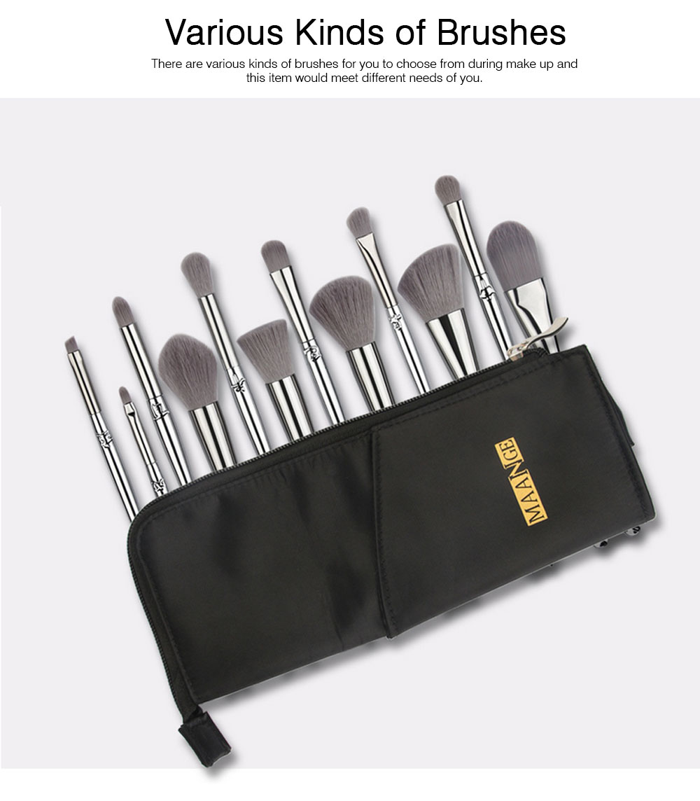 12PCS Makeup Brushes Set with Creative Animal Heads Model, Elegant Chinese Zodiac Style Handles Cosmetic Brushes with Brushes Package 5
