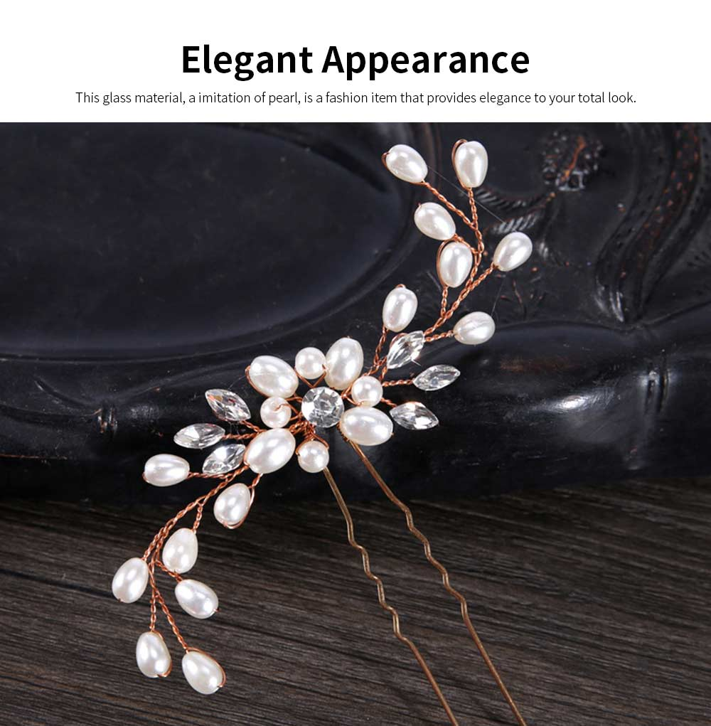 Elegant White and Silver Hairpin for Brides, Imitation Pearl Hair Decoration In Vogue, Accessories for Wedding Dress 1