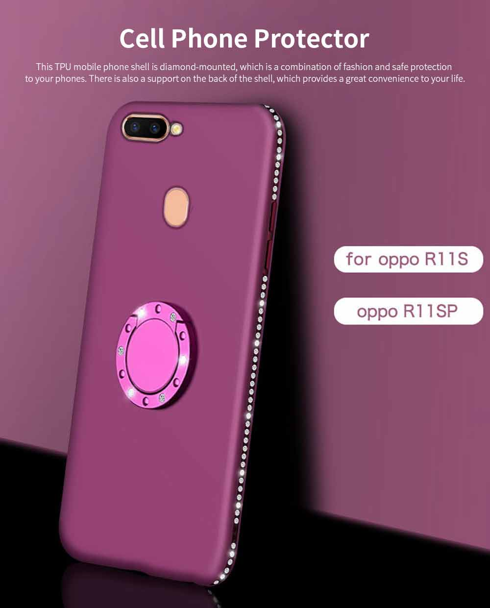 Shock-resistant Mobile Phone Protector for OPPO r9s, r11s, r15, Fashionable TPU Cell Phone Case Support 0