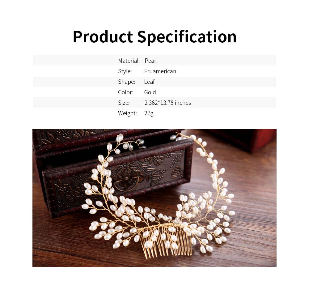 Latest Euramerican Style Hairpin for Brides, Pearl Hair Decoration In Vogue, Tuck Comb Accessories for Wedding Dress 5