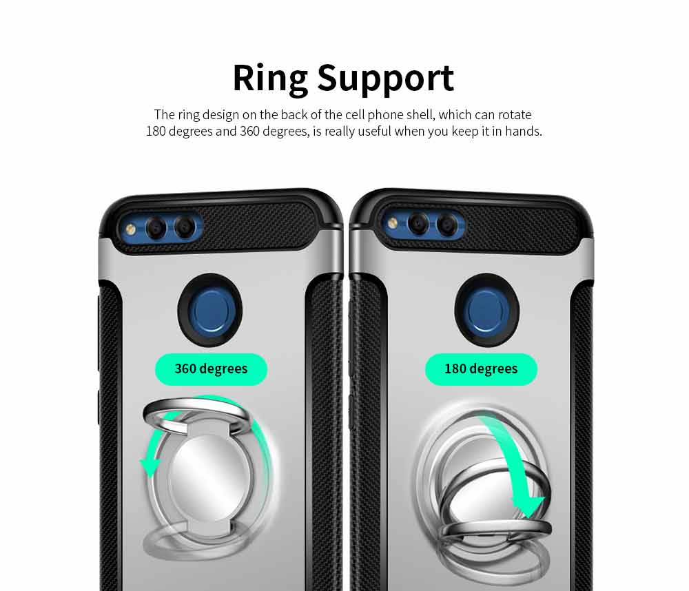 Creative Shock-resistant Cell Phone Protector for Huawei Honor/P20/mate 10/nova 3e, High Quality Silicone Phone Case with Metal Sheet for Magnetic Car Mount 2