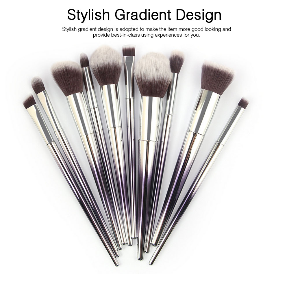 Stylish Gradient 10PCS Professional Cosmetic Brushes Set, Soft Bristle Makeup Brushes Suits with Fashion Paint Handle 3