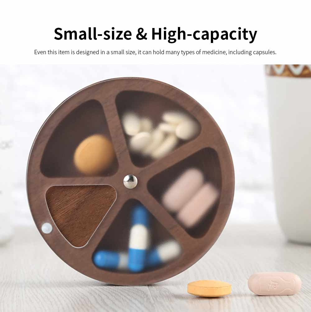 Wooden Nontoxic Pill Case for One Week, Portable Damp-proof Medicine Box with Transparent Lid for Easy Storage 4