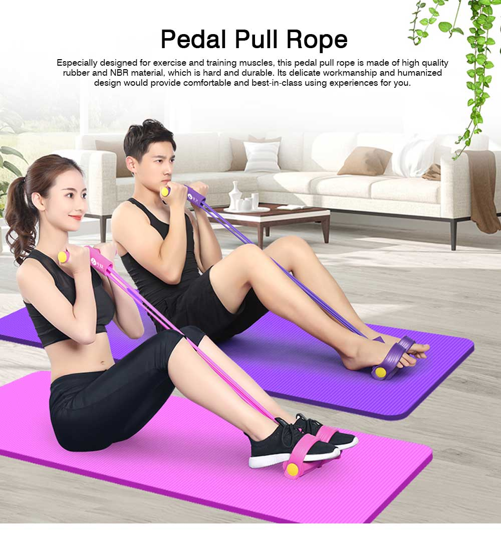 Multi-functional Elastic Rubber NBR Foot Pedal Pull Rope, Household Fitness Training Muscle Resistance Exercise Gym 0