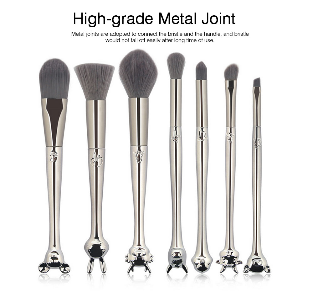 Creative 7PCS Makeup Brushes Set with Unique Chinese Zodiac Style, Delicate Animals Heads Model Handle Head Sliver Cosmetic Brushes Suit 5