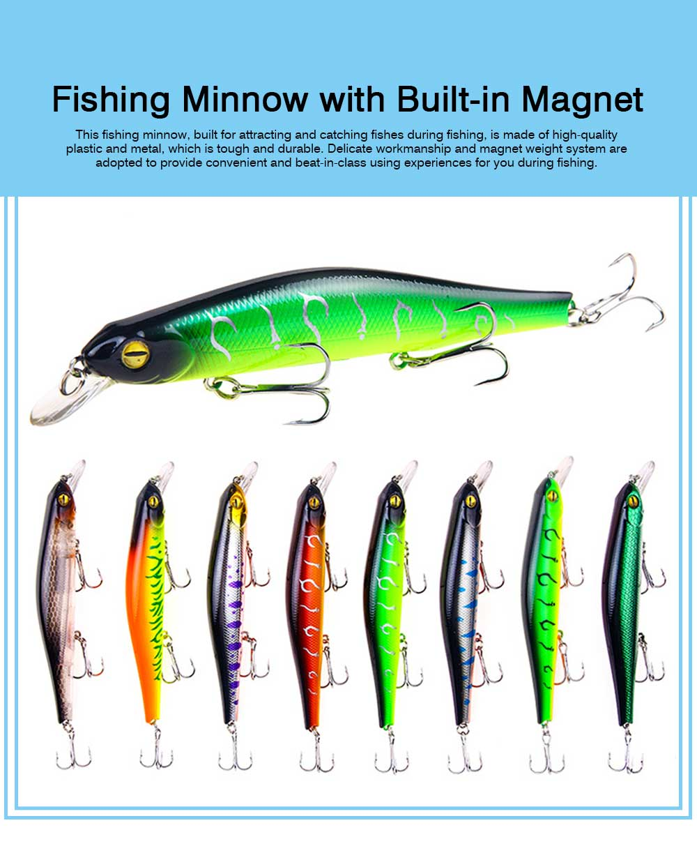 Artificial Fishing Lures Bait Tackle with Magnet Weight System, Delicate Mock Fish Model Minnow Crank Bait Bass 6