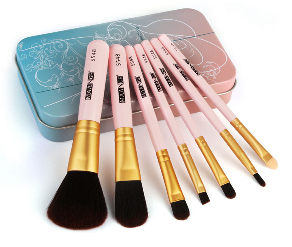 Stylish 7PCS Professional Makeup Brushes Set with Iron Box, Elegant Finest Cosmetic Brushes Suit For Makeup Beginners 6