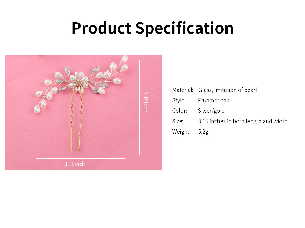 Elegant White and Silver Hairpin for Brides, Imitation Pearl Hair Decoration In Vogue, Accessories for Wedding Dress 5
