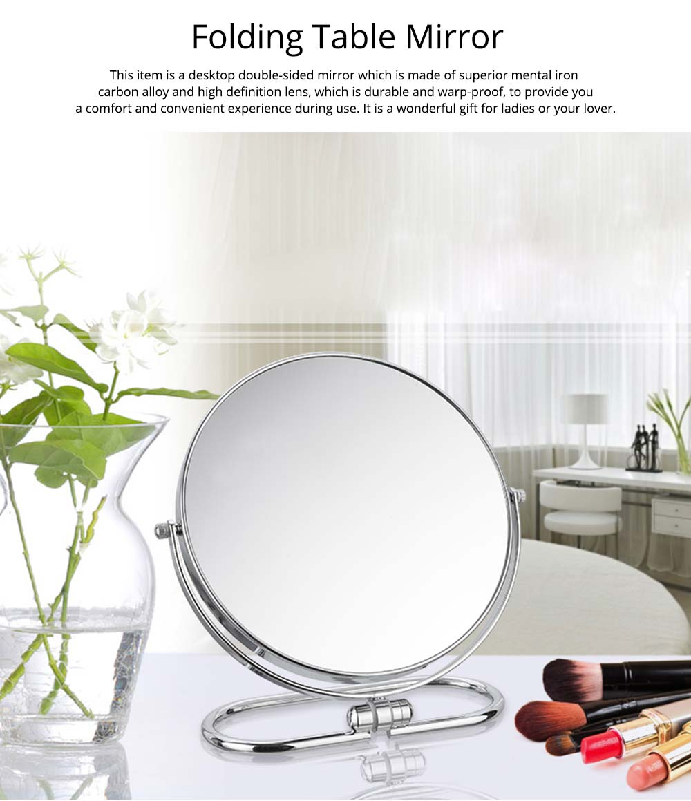 Table Cosmetic Mirror, One-Sided Makeup Mirror For Vanity, OK to Hang-up 0