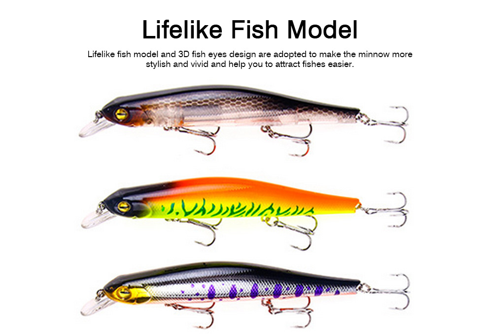 Artificial Fishing Lures Bait Tackle with Magnet Weight System, Delicate Mock Fish Model Minnow Crank Bait Bass 10