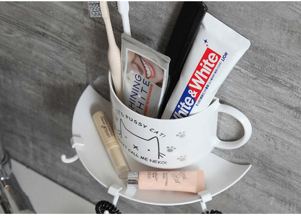 Bathroom Free Punching Adhesive Paste Pendant, Toothbrush Holder Toothpaste Holder Pendant, Cup Type Wall Mount Rack 6