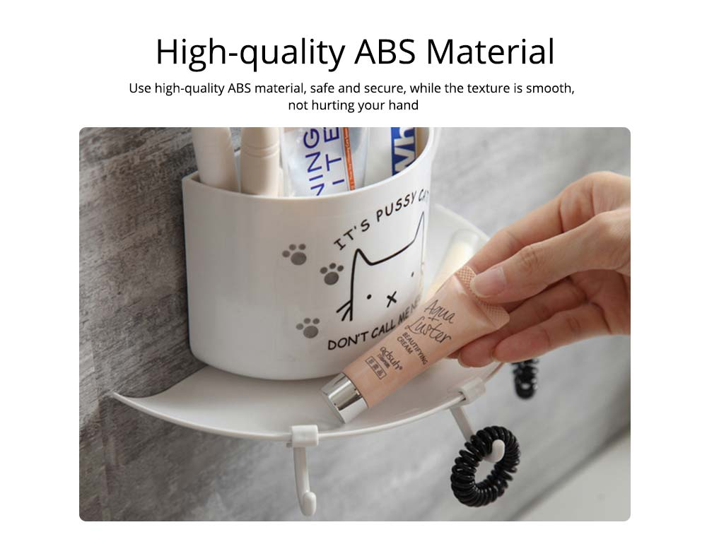 Bathroom Free Punching Adhesive Paste Pendant, Toothbrush Holder Toothpaste Holder Pendant, Cup Type Wall Mount Rack 1