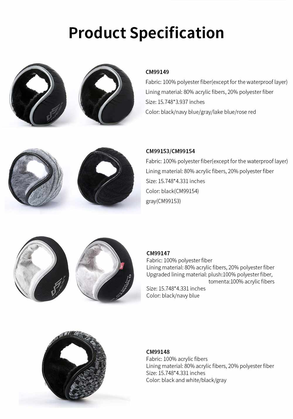 Cold-proof Downy Earmuffs for Winter, Portable Folding Ear Protectors for Both Men and Women Long Velvet Design 5