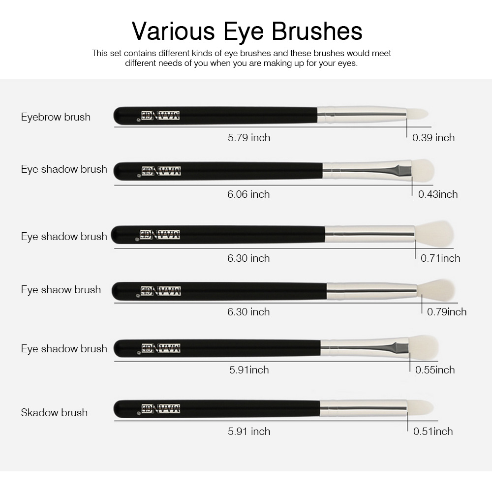 Delicate Professional Makeup Eye Shadow Brushes Suit, Minimalist 6PCS Wooden Multiple Eye Brushes Set 5