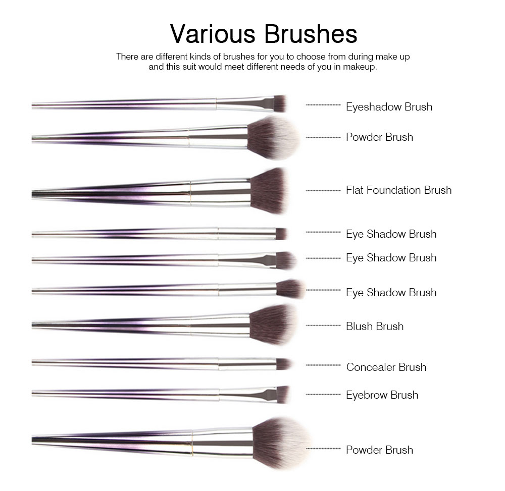 Stylish Gradient 10PCS Professional Cosmetic Brushes Set, Soft Bristle Makeup Brushes Suits with Fashion Paint Handle 4