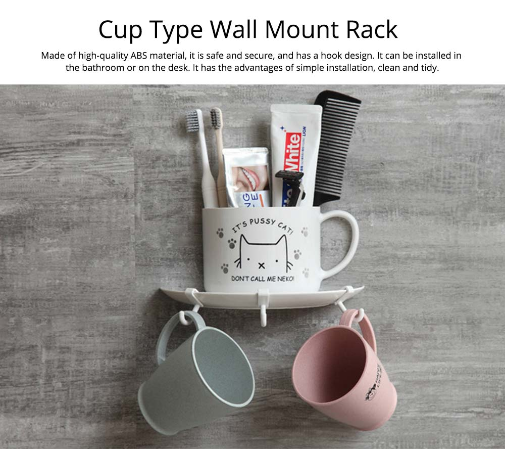Bathroom Free Punching Adhesive Paste Pendant, Toothbrush Holder Toothpaste Holder Pendant, Cup Type Wall Mount Rack 0