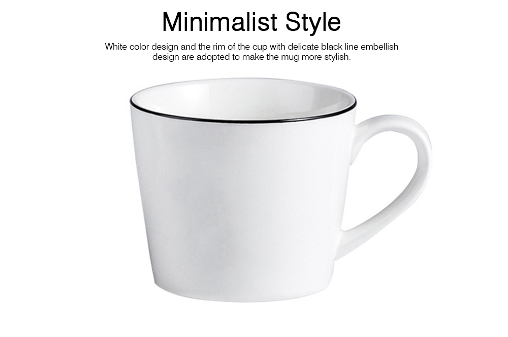 Minimalist Elegant White Ceramics Mug, Large Capacity Pure Color Office Household Breakfast Milk Coffee Cup 4