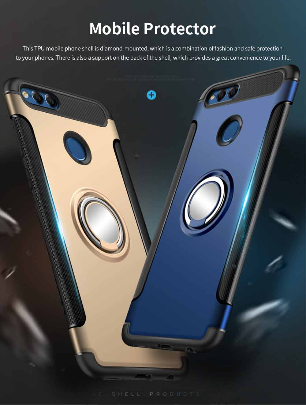 Creative Shock-resistant Cell Phone Protector for Huawei Honor/P20/mate 10/nova 3e, High Quality Silicone Phone Case with Metal Sheet for Magnetic Car Mount 0