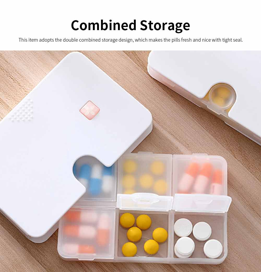 Portable Weekly Plastic Pill Case, Transparent Combined Double Design Medicine Box for Easy Storage 1