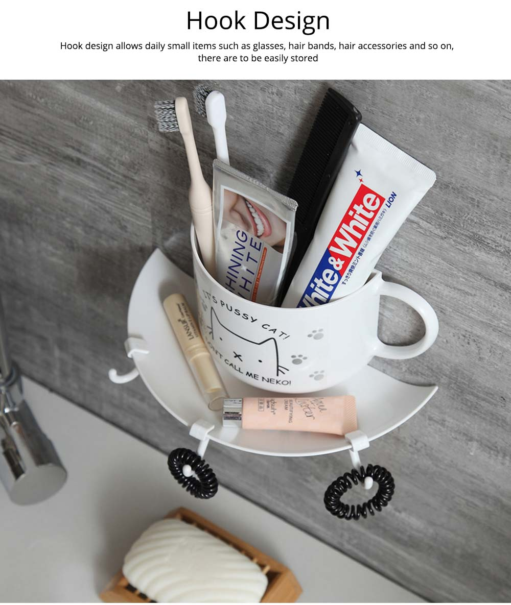 Bathroom Free Punching Adhesive Paste Pendant, Toothbrush Holder Toothpaste Holder Pendant, Cup Type Wall Mount Rack 2