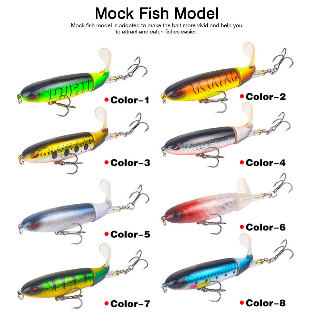 Mock Fish Model Hard Minnow Fishing Lures Bait with Propeller, Delicate Fishing Crank Bait Jigging Bass 5