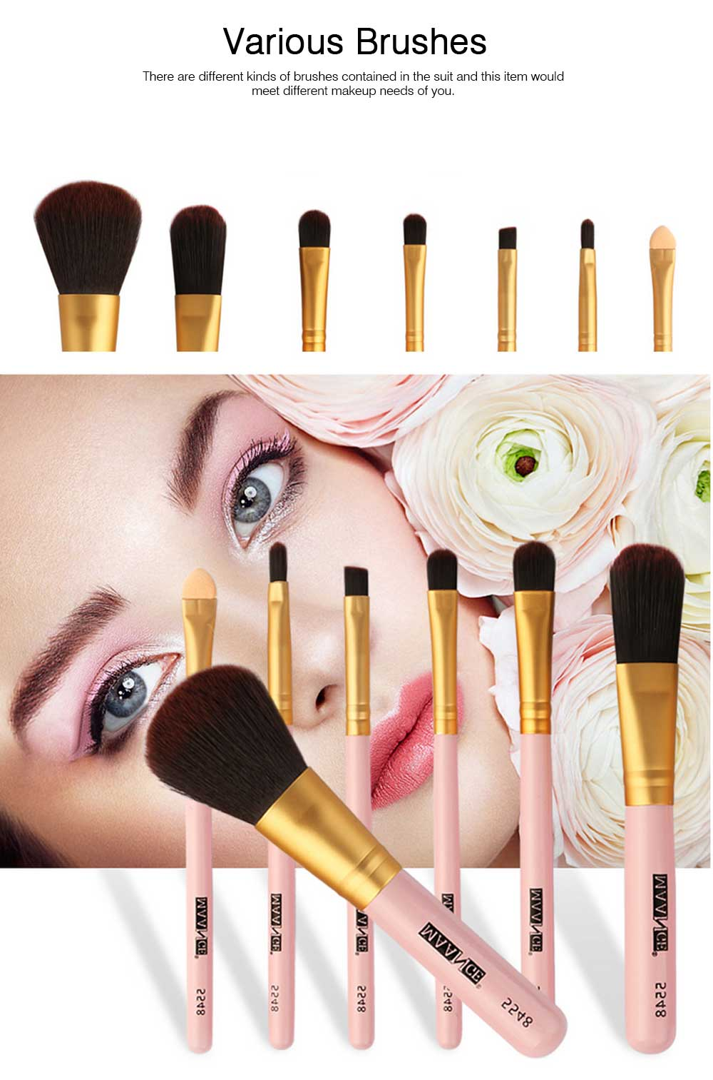 Stylish 7PCS Professional Makeup Brushes Set with Iron Box, Elegant Finest Cosmetic Brushes Suit For Makeup Beginners 4