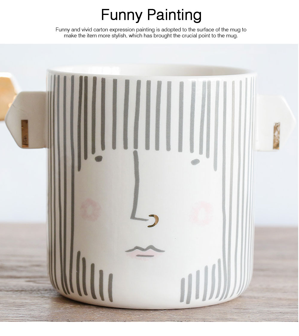 Funny Cute Expression Painting Ceramics Mug, Unique Stylish Household Water Coffee Breakfast Cup 4