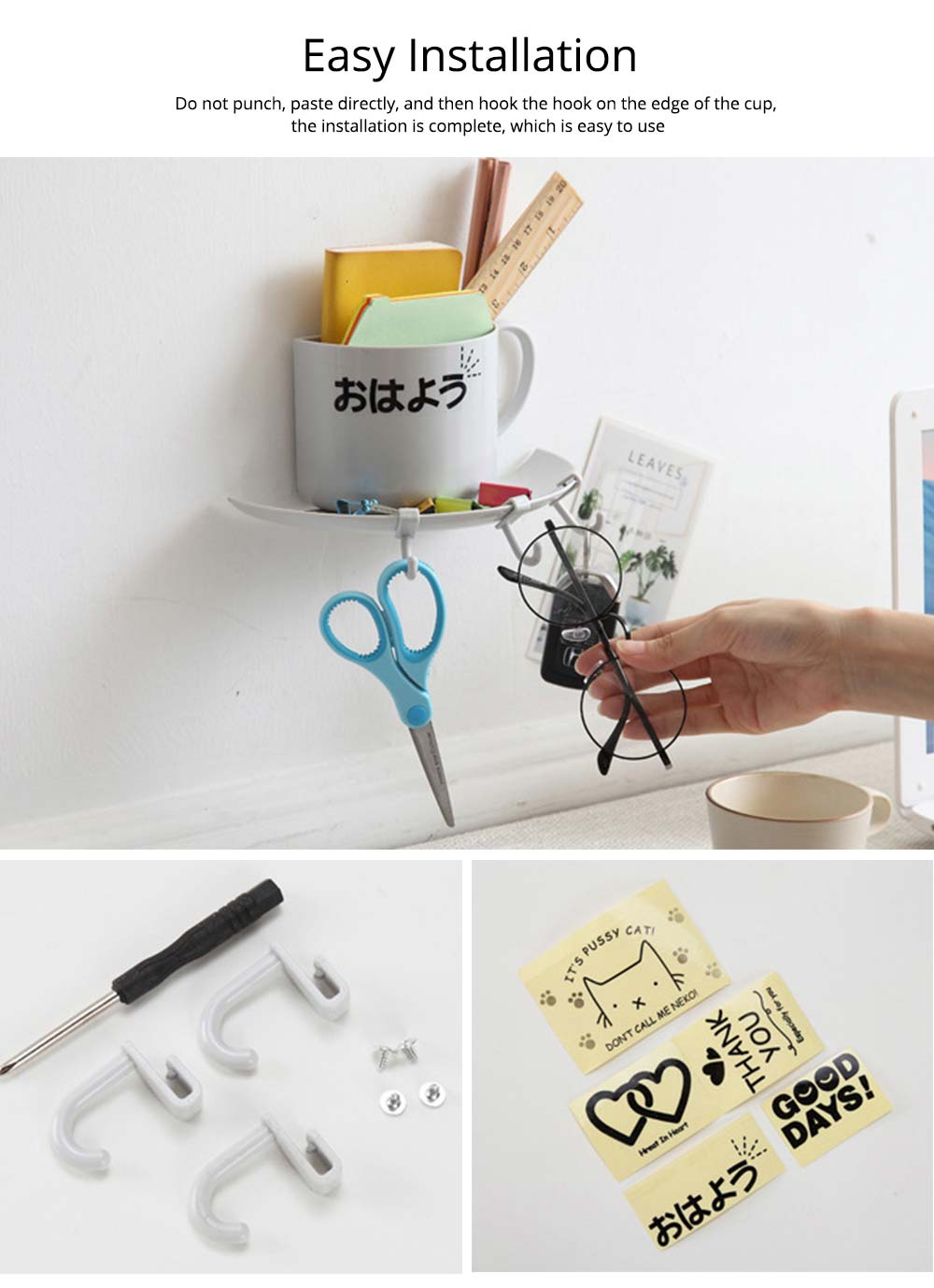 Bathroom Free Punching Adhesive Paste Pendant, Toothbrush Holder Toothpaste Holder Pendant, Cup Type Wall Mount Rack 3