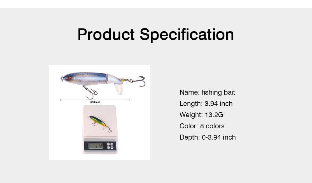 Mock Fish Model Hard Minnow Fishing Lures Bait with Propeller, Delicate Fishing Crank Bait Jigging Bass 7