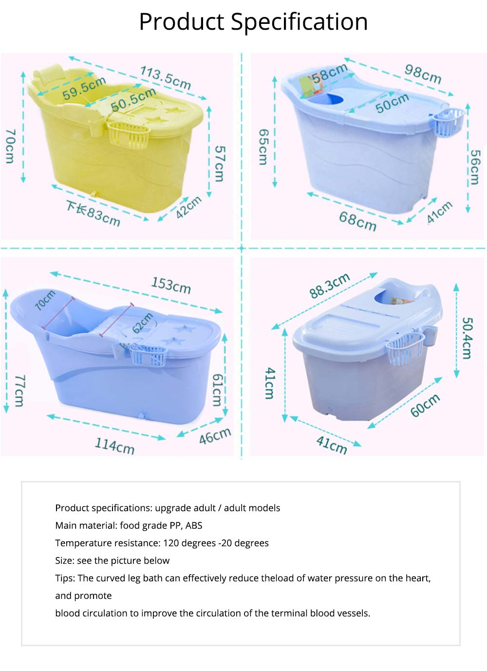 Thick Plastic Adult Bath Barrel, Children's Home Bath Barrel, Adult Body Oversized Bath Tub 6