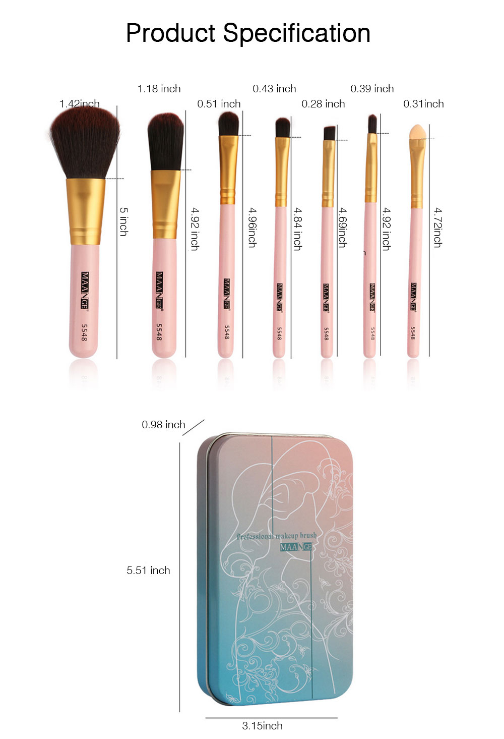 Stylish 7PCS Professional Makeup Brushes Set with Iron Box, Elegant Finest Cosmetic Brushes Suit For Makeup Beginners 7