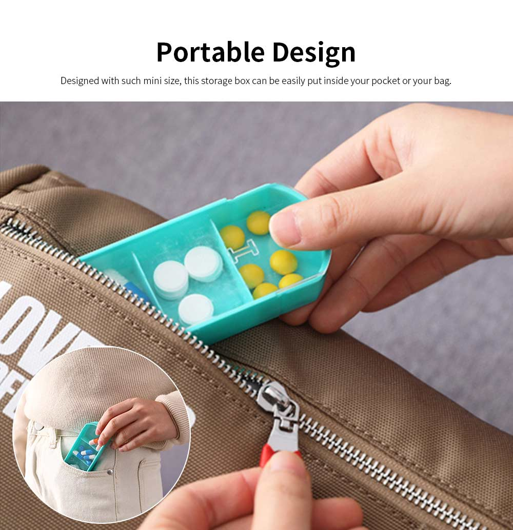 Weekly Pill Box 4 Times A Day, Portable Mini Sized Plastic Pill Case for Easy Storage, Medicine Classified Storing 2