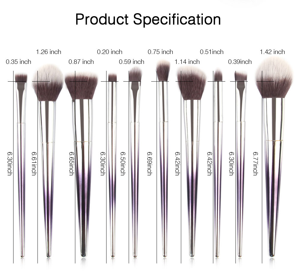 Stylish Gradient 10PCS Professional Cosmetic Brushes Set, Soft Bristle Makeup Brushes Suits with Fashion Paint Handle 7