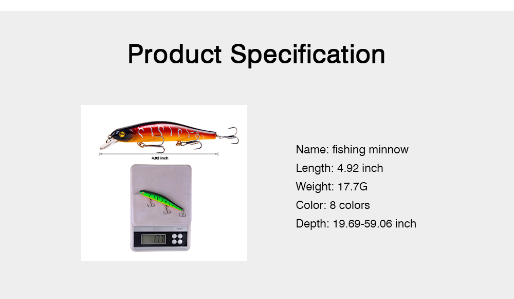 Artificial Fishing Lures Bait Tackle with Magnet Weight System, Delicate Mock Fish Model Minnow Crank Bait Bass 15
